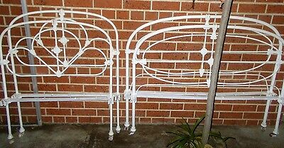 2 antique Cast iron Beds - Single & Queen size Vgc,& 4rails *PiCK UP only Hobart