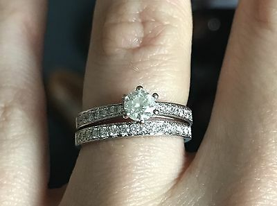 2 Rings!! Both 18ct White Gold. Diamond Half Eternity Ring And Solitaire.Size M