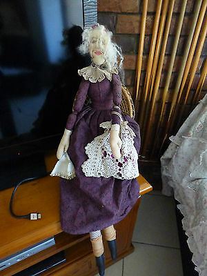 Grandma Handmade cloth doll (comes with cane chair)