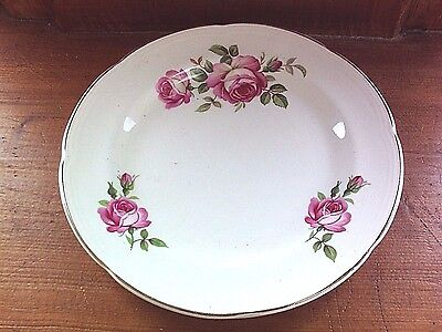 Vintage pink rose plates, PAIR Barratts of Staffordshire, 1940s English Pottery