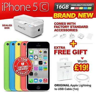 New & Sealed Factory Unlocked APPLE iPhone 5C 16GB Pink Blue White Green Yellow