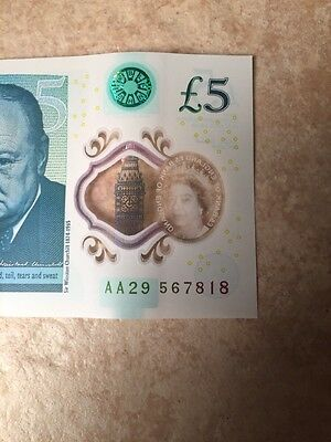 New £5 pound note AA29 567818 low serial Number