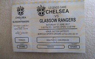 Chelsea  v Glasgow rangers 2017( sutton) TICKET STUB (old boys game)