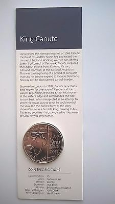 Royal Mint £5 Pound 2017 King Canute BU Coin