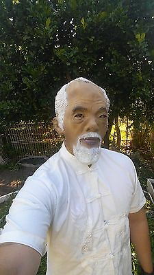 Realistic latex full head old chinese asian man male mask halloween rubber