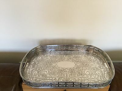 Beautiful Chased  Large 2 Handled Silver  Plated Galley Tray (Spt 8700)