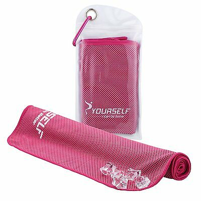 Instant Cooling Towel Sports Gym Fitness Golf Yoga Sweat Scarf 100x30cm Hot Pink