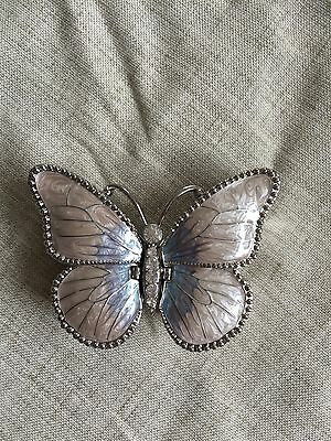 metal purple butterfly trinket box with two compartments