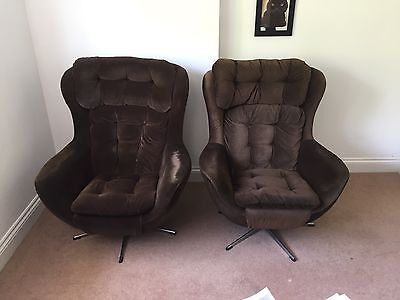 Genuine 1970s Swivel rocking egg chairs original brown velour x2
