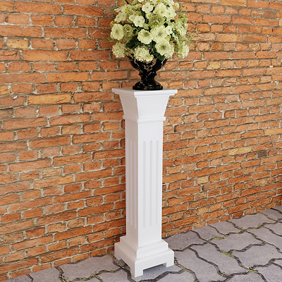 Plant Stand Square Pillar White Wooden Indoor Living Room Display Home