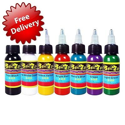 Solong Tattoo® 7 Basic Colors Tattoo Ink Set Pigment Kit 1oz (30ml) Professiona
