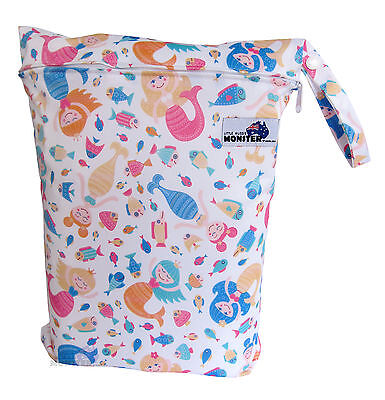 Wet Bag Large Zip baby cloth nappy, swim or gym bag towels Mermaids & Fish Girl