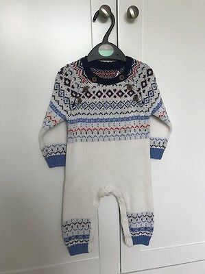Baby Boy Girl Babygrow Snowsuit Nordic Knitted Winter Christmas Romper 3-6 BNWT