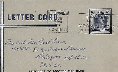 K 1728 Melbourne 5d Letter Card March 1965 underpaid to USA