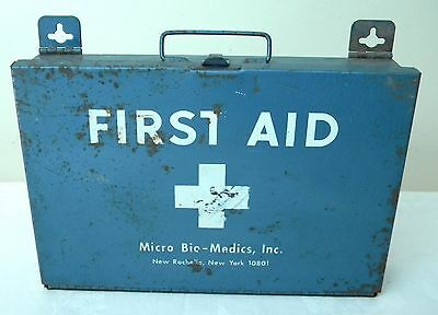 Vintage Micro Bio-Medics Inc Blue Metal First Aid Box Empty Made In Usa