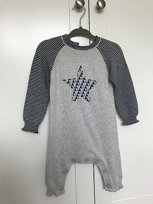 Baby Boy Babygrow Knitted Striped Star Cotton 3-6 BNWT