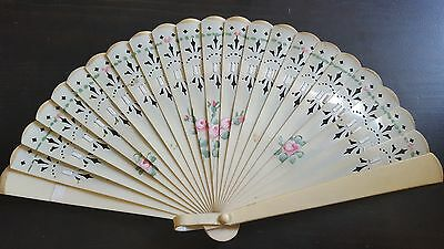 VINTAGE 1920-1950's HAND PAINTED CELLULOID BRISE FAN  - SPRING FLOWERS
