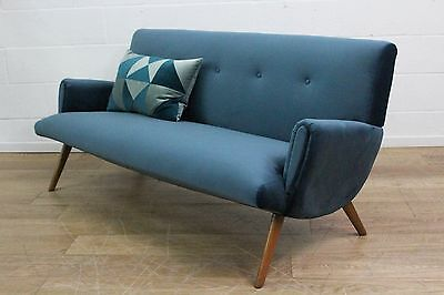 Danish Refurbished Midcentury Three Seater Cocktail Sofa 60s Retro Velvet