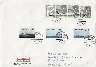 K 810 Faroes Registered Torshavn  July 1984 cover to Germany; 7 stamps