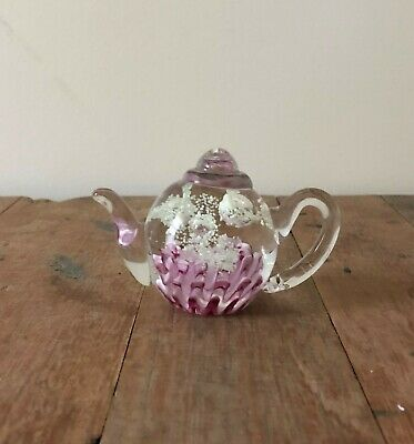 New Glass Paperweight Teapot Glow in Dark Pink Base White Explosions 9.5x6x7cm