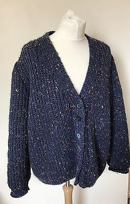 Vintage Hand Knitted Blue Cardigan With Rainbow Flecks - Size 24 - 26