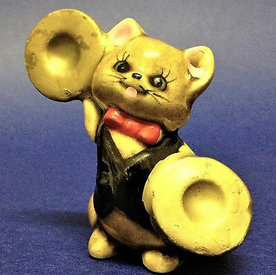 "Vintage ""Made in Japan"" - 7cm  Ceramic Cat with Gilt Cymbals - Figurine Ornament"