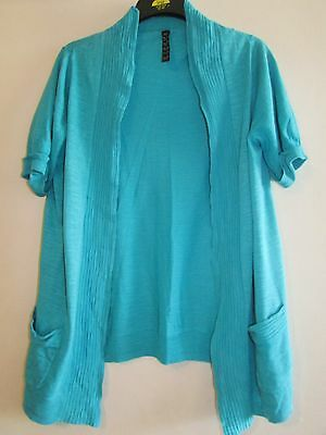 Ladies Pretty Blue Cotton Summer Cardigan By Evans Size 18