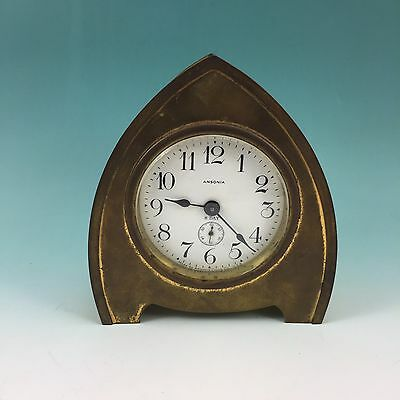 Antique Brass Ansonia Arch Top Cathedral Clock 8 Day Art Nouveau Porcelain Face