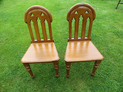 Two matching antique Victorian chapel chairs.  Solid oak