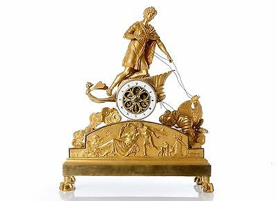 P.-P. Thomire Empire Ormolu Mantel Clock Depicting Ganymede In His Chariot Pulle