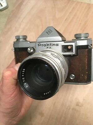 Praktina FX 35mm SLR Film Camera +58mm f 1:2 Carl Zeiss Jena Lens 1955 Untested