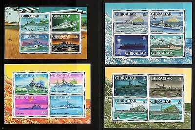 GIBRALTAR warships 4 Miniature Sheets all different UM