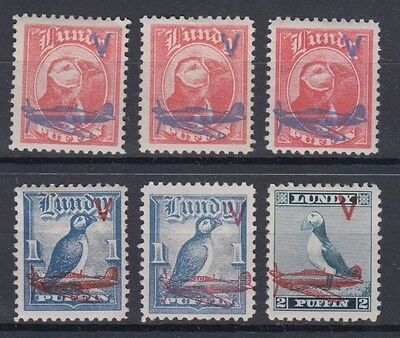 Lundy 1942 V Plane Overprints X6 Different Shades Mint Hinged