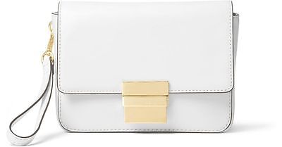 Michael Kors Leather Madelyn Clutch Bag Women's White Purse Wallet Genuine New