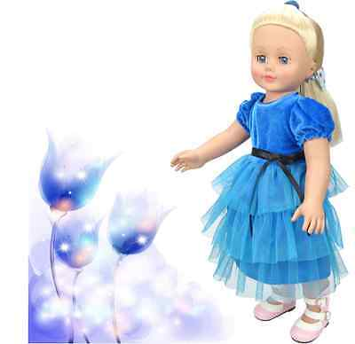 Handmade new blue clothes dress for 18 inch American girl doll party  AAA-B