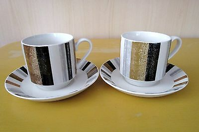 Midwinter Queensberry Stripe. Pair of coffee cups and saucers. Good Condition