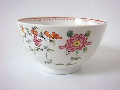 Liverpool Porcelain Newhall  Nice Painted Flowers Tea Bowl C1780