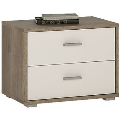 4 You Canyon Grey / White Bedroom Furniture 2 Drawer Low Bedside Cabinet Unit
