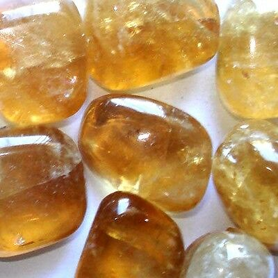 x1 Genuine Natural Honey Calcite Crystal Tumbled Stone