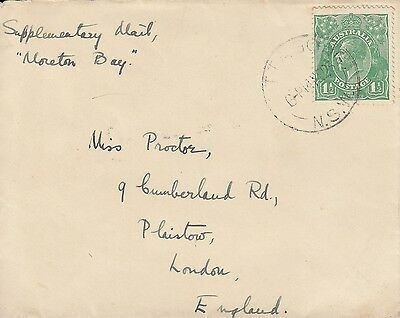 L 1078 Mittagong? NSW Nov 1924 cover to UK; 1d 1/2d KGV green stamp