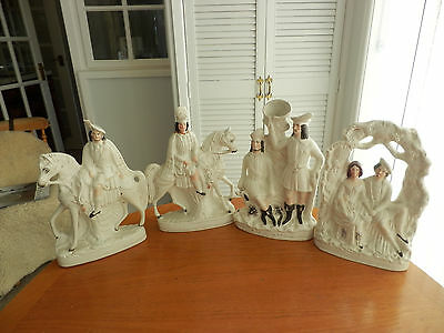 Antique Collection of  Four  Staffordshire Figures