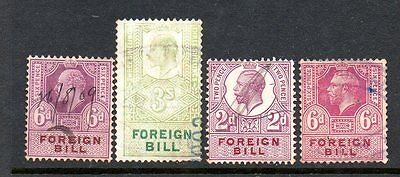 GREAT BRITAIN Edward VII & George V Foreign Bill 2d, 6dx2, 3/- used