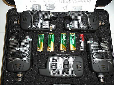 4 x Wireless bite alarms, Receiver, 2.5mm jacks. dropbacks, latch light, tone