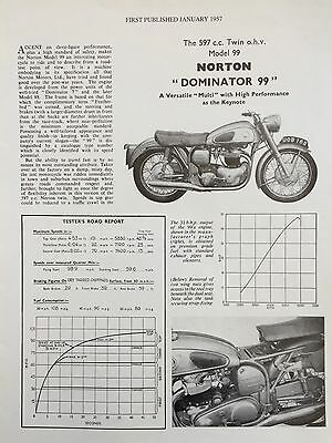 NORTON DOMINATOR MODEL 99 597cc - 2 PAGE RE-PRINTED 1957 MOTORCYCLE TEST