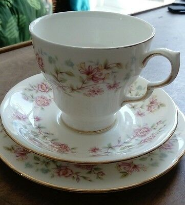 Colclough fine bone china trio tea set, delicate floral pattern 'Bouquet'