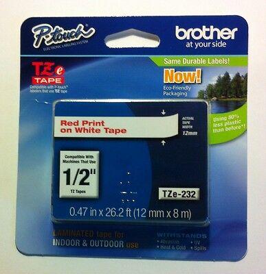"""Brother TZe-232 1/2"""" Red on White P-touch Tape (12mm) Brand New."""