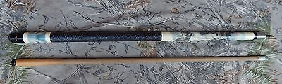 PLAYERS Pool Cue 605 2 pc Hard Rock Maple Linen Wrap 19.5 Artistic Series Wolf