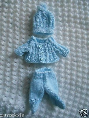 """Doll Clothes Hand knitted blue footed set for baby Boy ooak 6"""" Berenguer 5"""""""