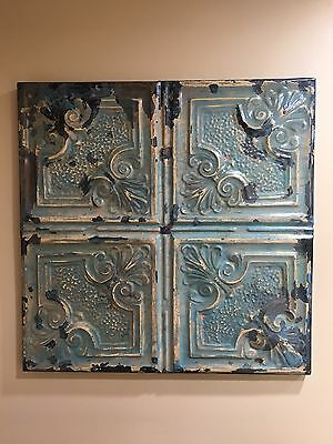 23 x 23 Antique Tin Ceiling Tile Wrapped Wall Art Reclaimed Tin Turquiose Finish