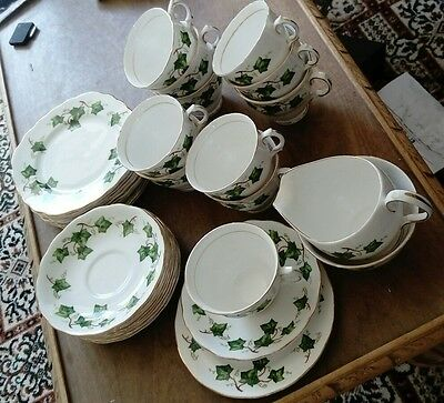 35 piece Colclough tea set in ivy pattern